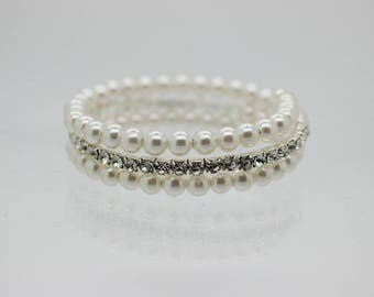 Pearl and Diamante Twist Bracelet