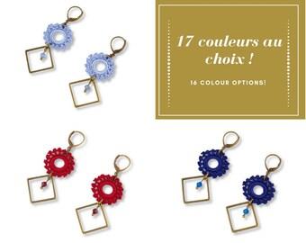 Earrings Sun diamond, bronze, color choice, Belisaba crochet lace