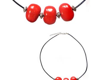 Necklace pearls porcelain red vermilion beads silver black adjustable cord