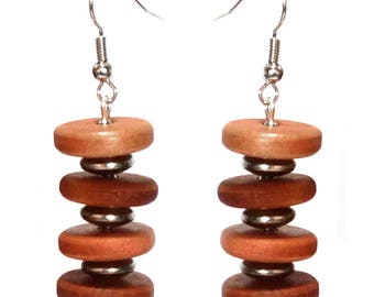 Women earrings hippie chic Brown wood pink and silver