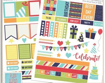 Birthday Boyish Colors Erin Condren Life Planner Sticker Kit Printables Calendar