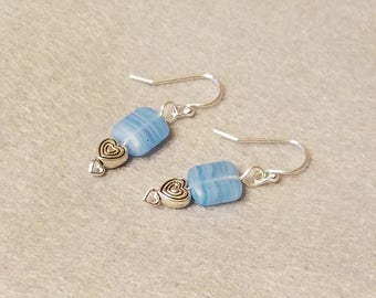 Simple, blue stone and silver heart earrings with silver-plated fixtures