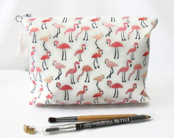 Gifts for her, Wash bag, flamingo, travel bag, cosmetic bag, zip bag, make up bag, dumpy bag, boxy pouch.