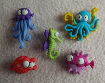 DRESS IT UP Buttons ~ Creatures of The Sea ~ Octopus ~ Seahorse ~ Jelly Fish +