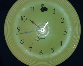 1996 Fiestaware wall clock, Chartreuse, VERY rare piece!