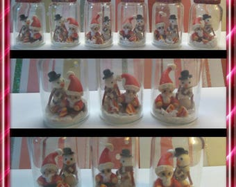 (1) jar of Christmas, Santa and snowman polymer clay