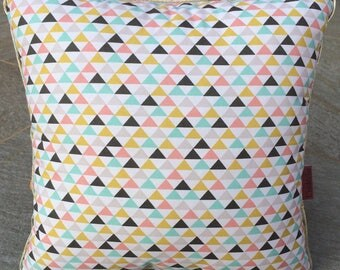 a pastel geometric pattern cushion 36 * 36 cm, piping or