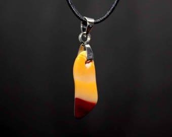 Yellow agate gemstone pendant