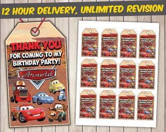 Disney Cars Thank You Tags, Disney Cars Favor Tags, Disney Cars Gift Tags, Disney Cars Tags Printables, Disney Cars Custom Tags