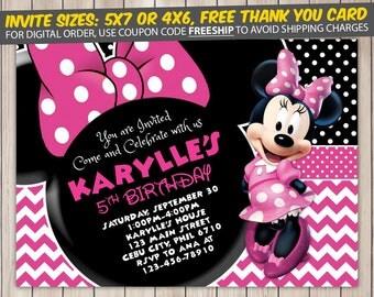 Minnie Mouse Invitation, Minnie Mouse Birthday, Minnie Mouse Birthday Invitation, Minnie Mouse Party, Minnie Mouse Invite, Printable