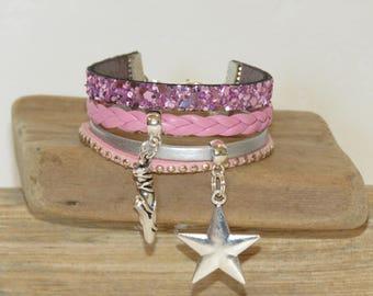 "Cuff Bracelet, pink, silver, for girl, glitter, leather, suede, ""Star dancer"""