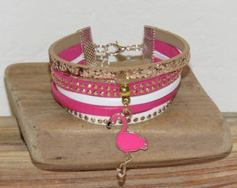 "Cuff Bracelet, MULTISTRAND, pink, white, gold, glitter, suede, for teens ""Flamingo Pink"""