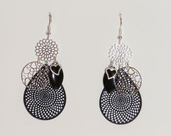 Earrings hearts, love, prints, hearts, silver, black, dangle earrings, earrings earrings Valentine's day