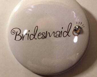 Bridesmaid Button With Swarovski Crystal