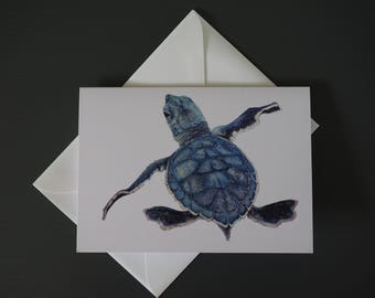 Green Turtle Baby Greeting Card