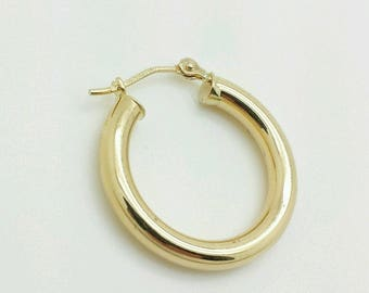14k Yellow Gold High Polish Tube Hoop Earrings 3mm x 20mm