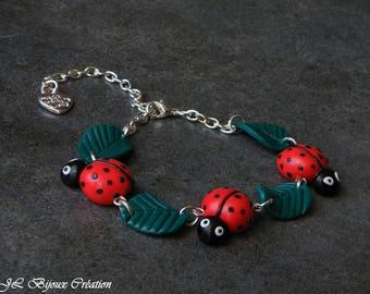 Ladybug polymer clay bracelets