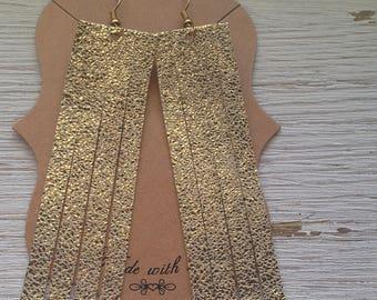 Sparkle Gold Leather Tassel Earrings, Leather Earrings, Statement Earrings