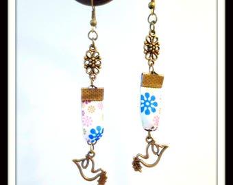 Earrings doves / birds Bronze floral satin ribbon