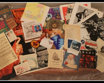 Large Lot of 30 + Antique & Vintage Ephemera Items, Postcards, Photographs, Advertising, Magazine Pages, Patches, Cards, Nostalgia, Memories