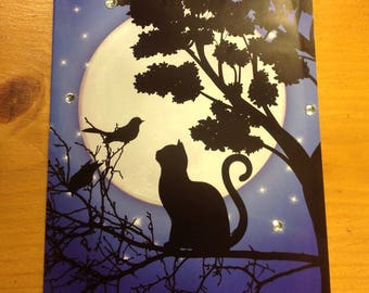 """Card """"cat in the night"""" - handmade - for any occasion"""