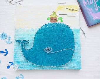Blue whale in the nursery, whale wood wall art nursery, String art baby shower, wall art nursery boy, whale art,reclaimed wood art baby room