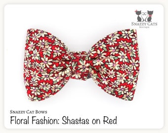 Snazzy Cat Bow Tie: Shastas on Red - Floral Fashion Collection - Daisies on Red Cat Bow - Comfy & Stylish Removable Bow for Cats and Kittens