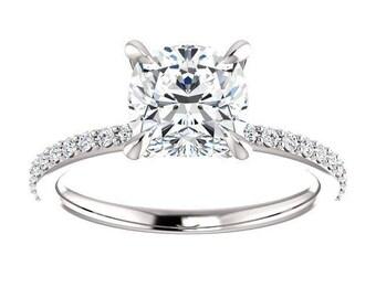 Forever One Moissanite Engagement Ring- Ashley | cushion | minimalist moissanite solitaire engagement ring