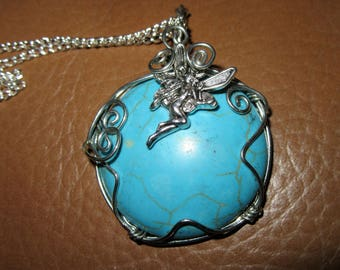 Wire wrapped Howlite fairy necklace