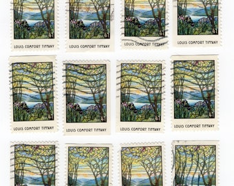 12 Louis Comfort Tiffany US Stamps. Used