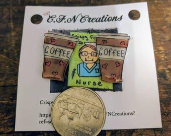 Coffee/earrings/women/gift/Crispyfriednurse