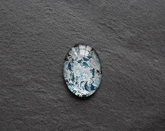 Cabochon 18 x 25 mm vintage blue / white glass