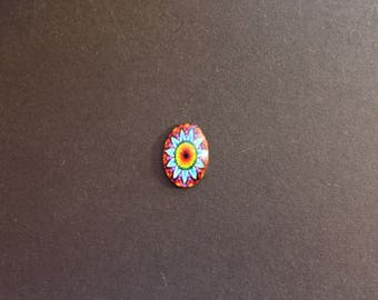 Cabochon 18 x 25 mm glass psychedelic / ethnic multi color