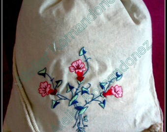VOLUBILIS, Embroidered silk, fabric to wear over the shoulder bag or backpack