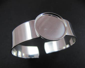 Findings for jewelry - stand bracelet 20mm - made in france - 925 Silver finish
