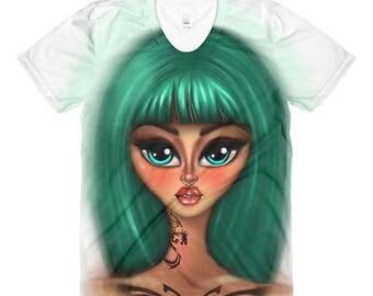 Sublimation women's crew neck t-shirt