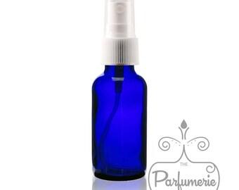 Set of 3: Cobalt Blue Glass 1 oz./30 ml Fine Mist Atomizer Essential Oil Perfume Cologne Refillable AROMATHERAPY SPRAY