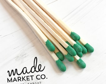 Green Colored Tip Matches. Match Sticks Refills Bulk Unbottled 50 Count. Farmhouse Home Decor. Gifts for Her. Best Seller. Most Popular Item