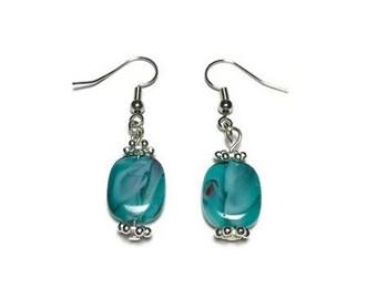Swirled glass bead earrings, blue glass, earrings, nickel free, glass beads, marbled glass, swirl glass, silver earrings, teal beads, beaded