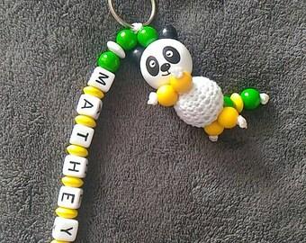 panda head name keychain