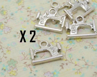 old metal sewing machine charm 2 x