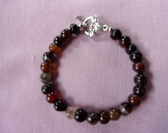 Black and red agate bracelet