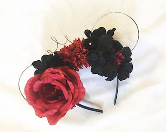 Burgundy and Black Floral Wire Mouse Ears with Wire Crown