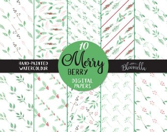 Merry Berry Patterns Digital Papers - Christmas Holidays Hand Painted INSTANT DOWNLOAD Berries Seamless Festive Scrapbook PNG Red Green Leaf