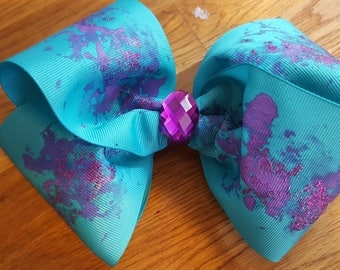 Hair bow hand painted