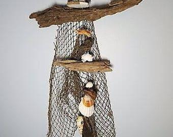 Coastal Décor, Nautical Décor, Handmade, Driftwood, Cohasset, Wind chime