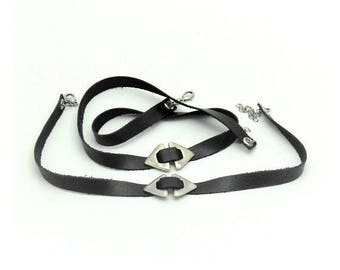Gothic jewelry set, Black leather, Jewelry set, Wrap bracelet, Collar necklace, Choker, Gothic jewelry, Women jewelry set, Leather jewelry