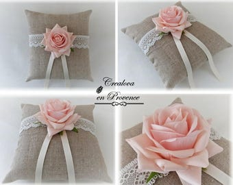 Ring pillow in linen and pink