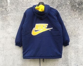 NIKE vintage 90s Nike Swoosh big logo embroidery buttons zipper hooded size S kids