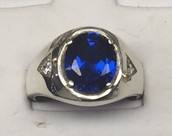 925 Sterling Silver Synthetic Sapphire Men Ring available size 6-14